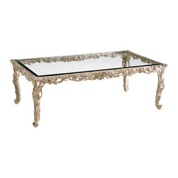 """Inviting Home - Carved Wood Coffee Table - Rectangular carved wood coffee table with leaf motif light silver leaf decape finish beveled glass top 51""""W x 31""""D x 17-3/4""""H hand made in Italy Rectangular carved wood coffee table with leaf motif. Carved coffee table has antiqued silver-leaf decape finish and 5/16"""" thick beveled glass top. This carved wood table is hand-made in Italy."""