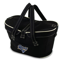 Picnic Time - St. Louis Rams Mercado Picnic Basket in Black - This Mercado Basket combines the fun and romance of a basket with the practicality of a lightweight canvas tote. It's made of polyester with water-resistant PEVA liner and has a fully removable lid for more versatility. Take it to the farmers market, the beach, or use it in the car for long trips. Carry food or sundries to and from home, or pack a lunch for you and your friends or family to share when you reach your destination. The Mercado is the perfect all-around soft-sided, insulated basket cooler to use when you want to transport a lunch or food items and look fashionable doing it.; Decoration: Digital Print; Includes: 1 removable canvas lid
