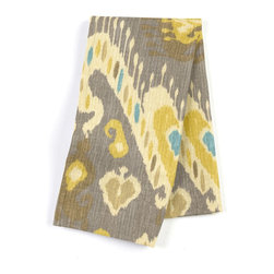 Gray, Yellow & Aqua Ikat Custom Napkin Set - Our Custom Napkins are sure to round out the perfect table setting'whether you're looking to liven up the kitchen or wow your next dinner party. We love it in this colorful eclectic ikat cotton print in lilac with touches of mint, orange, & beige.