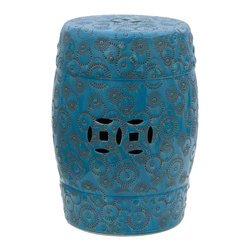 """Oriental Furniture - 18"""" Spherical Design Porcelain Garden Stool - Handcrafted in high-quality porcelain, this fetching garden stool offers a stylish modern twist on a traditional Chinese design. The subtly layered glaze features a range of hues from aquamarine to cobalt stamped with spherical swirls and stars, creating the effect of a beautiful sky illuminated by twinkling starlight. Open on the bottom and featuring cut-through medallion designs on the top, front, and back, this weather-resistant garden stool can withstand the rain if placed in your garden or porch. This lovely accent piece is the perfect way to bring out the colors in your home or office."""