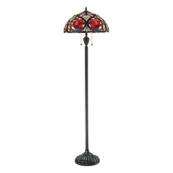 Quoizel Lighting - Quoizel Lighting TF879F 2 Light Floor Lamp - This beautiful Tiffany style lamp features has a handcrafted, genuine art glass shade created in rich jewel tones as well as soft pastels.