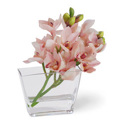 Winward Designs - Cymbidium Orchid Flower Arrangement, Pink - Orchids occupy a special place in history, especially during Chinas legendary Song Dynasty. Adorning most regal residences, orchids represent nobility.