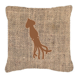 Caroline's Treasures - Squid Burlap and Brown Fabric Decorative Pillow Bb1096 - Indoor or Outdoor Pillow from heavyweight Canvas. Has the feel of Sunbrella Fabric. 18 inch x 18 inch 100% Polyester Fabric pillow Sham with pillow form. This pillow is made from our new canvas type fabric can be used Indoor or outdoor. Fade resistant, stain resistant and Machine washable..
