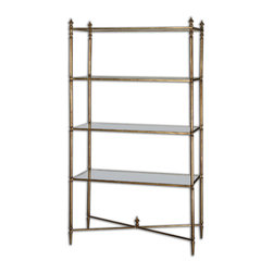 Uttermost - Henzler Mirrored Glass Etagere - Light, airy and elegant, this glass cabinet leaves a tiny footprint if you have a small space. It has a crisp, modern style, but vamps it up with a bit of gilding in the gold leaf iron cross stretchers. It's the best of both worlds.