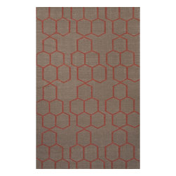 Jaipur Rugs - Jaipur Rugs Flat-Weave Geometric Pattern Wool Gray/Red Area Rug, 8 x 10ft - An array of simple flat weave designs in 100% wool - from simple modern geometrics to stripes and Ikats. Colors look modern and fresh and very contemporary.