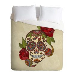 DENY Designs - Valentina Ramos Sugar Skull Duvet Cover - Turn your basic, boring down comforter into the super stylish focal point of your bedroom. Our Luxe Duvet is made from a heavy-weight luxurious woven polyester with a 50% cotton/50% polyester cream bottom. It also includes a hidden zipper with interior corner ties to secure your comforter. it's comfy, fade-resistant, and custom printed for each and every customer.