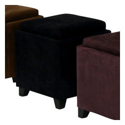 Armen Living - Armen Living Rainbow Micro Fiber Storage Ottoman in Black - Armen Living - Ottomans - LC530OTMFBL - The 530 Rainbow Storage Ottoman is a wood frame construction on espresso wood feet and covered in an easy to clean micro fiber fabric. The top reverses from a padded seat to a convenient serving tray. Great for the family room.