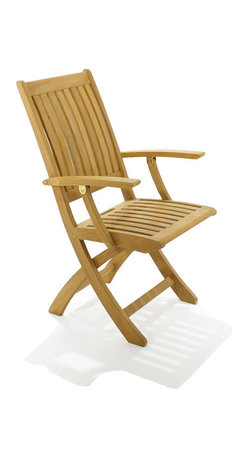Westminster Teak Furniture - Barbuda Folding Armchair - Made for garden parties, this folding armchair is ready when you need it and stacks neatly away when you don't. It's expertly crafted of premium teak and engineered to sit level with no worries of tipping. And, even the Wall Street Journal gives it a top-notch rating of Best Overall.