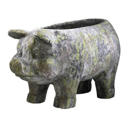 Cyan Design - Aged Pig Planter - Aged pig planter in moss green.