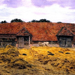 "George Boyce RWS An Old Barn at Whitchurch, Oxon   Print - 16"" x 24"" George Boyce RWS An Old Barn at Whitchurch, Oxon premium archival print reproduced to meet museum quality standards. Our museum quality archival prints are produced using high-precision print technology for a more accurate reproduction printed on high quality, heavyweight matte presentation paper with fade-resistant, archival inks. Our progressive business model allows us to offer works of art to you at the best wholesale pricing, significantly less than art gallery prices, affordable to all. This line of artwork is produced with extra white border space (if you choose to have it framed, for your framer to work with to frame properly or utilize a larger mat and/or frame).  We present a comprehensive collection of exceptional art reproductions byGeorge Boyce RWS."