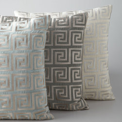 "Horchow - Greek Key Metallic Accent Pillow - METALLIC BLUE - Greek Key Metallic Accent PillowDetailsPillows sold individually.Made of cotton with feather/down fill.Dry clean.Sold individually; each 20""Sq.Imported."