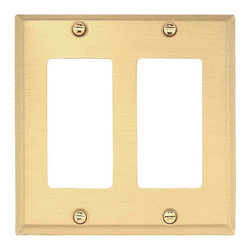 Renovators Supply - Switchplates Brushed Solid Brass Double GFI Switch Plate - Double (2) GFI, two (2) gang dimmer switch or outlet plate. Our solid brass satin finish switch plates have a baked on finish that outlasts normal lacquer finishes. Every plate is protected with a peel-away plastic coating for protection in shipping. Solid brass screws are included.