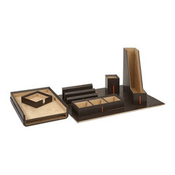 iMax - Carson Desk, Set with Gift Box - Work it: Suede lined, leather look desk set in espresso with a sophisticated stripe and gift box wows him or her with everything from an inbox to blotter, magazine holder, pencil cup, letter holder and cubbies for clips and other necessities.