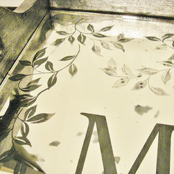 Monogram Mirror Serving Trays by Ruby Rose Studio - Antique Monogram Mirror Serving Tray