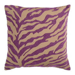 """Surya - Surya JS031-1818D Pillow - Zebra print is always in style. This fun design brings character to your room. Colors of purple and beige accent this decorative pillow. This pillow contains a poly fill and a zipper closure. Add this 18"""" x 18"""" pillow to your collection today."""