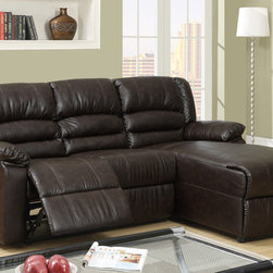 Small Coffee Leather Reclining Sectional Sofa Recliner Right Chaise -