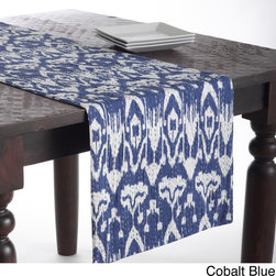 None - Ikat Table Runner with Kantha Stitches - This ikat design table runner features lovely kantha stitching for a unique style motif. This runner is delicately crafted from 100-percent cotton and is available in several stylish colors.