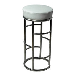 Lilo Bar Stool, White - The Lilo Barstool is a unique modern backless bar stool that brings a touch of chrome with the luxury of a leather padded seat.