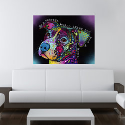 My Wonderful Walls - In A Perfect World - Dog Wall Sticker - Decal, Small - - In A Perfect World dog graphic by Dean Russo