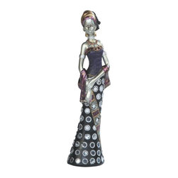 GSC - 8 Inch Silver African Lady In Dress Figurine - This gorgeous 8 Inch Silver African Lady In Dress Figurine has the finest details and highest quality you will find anywhere! 8 Inch Silver African Lady In Dress Figurine is truly remarkable.