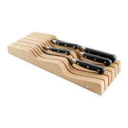 Messermeister - Messermeister - 11 Slot In Drawer Knife Holder - Beechwood - Dimensions: