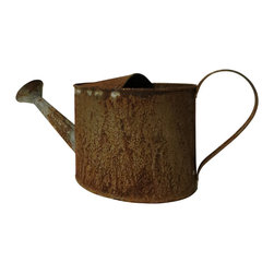 Heather Fields Home & Garden - Rustic Iron Watering Can - Rustic iron watering can. Functional. Rust finish, will continue to rust after long time.