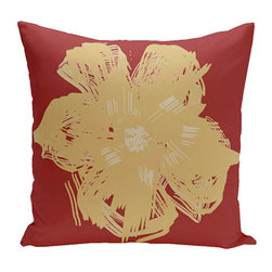 e by design - Floral Red 20-Inch Cotton Decorative Pillow - - Decorate and personalize your home with coastal cotton pillows that embody color and style from e by design  - Fill Material: Synthetic down  - Closure: Concealed Zipper  - Care Instructions: Spot clean recommended  - Made in USA e by design - CPO-NR8-Buddha_Emperor-20