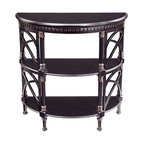 Bailey Street - Demilune 2-Shelf Console Table w Turned Posts - Cheval - Top has a graceful gothic curves. Two lower shelves. Can also be used as storage or display unit. Made from plantation grown hardwoods and other wood products. 36 in. W x 16.75 in. D x 32 in. H
