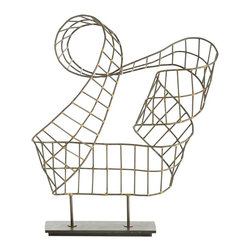 Arteriors - Nebula Sculpture - First, our artisans hand make a flat ribbon by welding the iron grid together with brass. Then, they twist it into a shape that mimics a rollercoaster and mount it on a natural iron base. Each piece will be slightly different. We think it looks great from all angles so be sure to place where you can truly admire it.