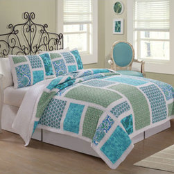 Pem America - American Traditions Belfast  Twin Quilt with Pillow Sham - - Belfast features beautiful large bright blue and green printed panels with a stark white frame work. This versatile look can be used in summer cottages, teen rooms or even brighter master bedrooms! This 100% cotton pieced face quilt provides durability, comforter and fashion! Twin quilt (68x86 inches) and 1 standard sham (20x26 inches).  - 100% cotton face and back. Filled with 100% Natural Cotton. Prewashed for comfort.  - Machine Wash cold/gentle, no bleach, tumble dry. Pattern and size may vary due to hand crafting. Pem America - QS8209TW2300