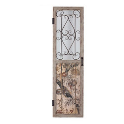 71 X 20 X 1.25 In Wooden & Metal Door - Uniquely printed wooden door panel with metal accents in the window frame.