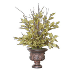 Uttermost - Sugary Salal Evergreen Plant - These luscious light green leaves have the realistic look of the salal evergreen plant, highlighted with natural twig enhancements, potted in an aged brown, footed urn. Bulbs Included: No