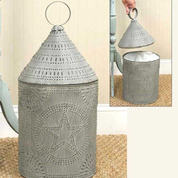 Weathered Galvanized Paul Revere Metal Wastebasket With Liner - This is a clever and charming trash receptacle that would work beautifully with any farmhouse decor.