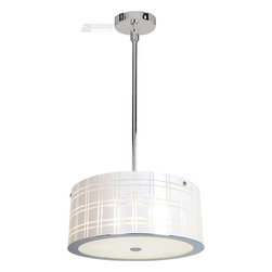 "Access Lighting - Access Lighting Kalista Cylinder Pendant Light - Enjoy the sophisticated poise, demur attitude, and cool satisfaction that comes with this contemporary wall pendant. The white plaid shade provides a clean and friendly glow that is sure to start conversation and it looks outstanding in your living room, kitchen, den, dining room, lounge, or bedroom. The chrome finish gleams with premium durability and quality so you can always enjoy this fixture. Supplied with 6"", 16"", 22"" rods, 10ft. cord and slope ceiling adapter. Optional rods up to 10ft is sold separately."