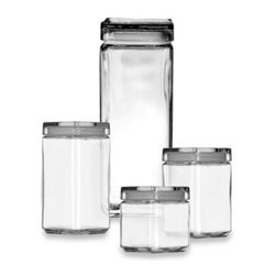 Anchor Hocking - Anchor Hocking 1-Quart Stackable Square Canister - These square canisters are simply elegant, with clean angles and clear glass sides that let you prominently display the contents of each. Each canister has a seal-tight lid with a lipped top surface so the canisters will not slide when you stack them.