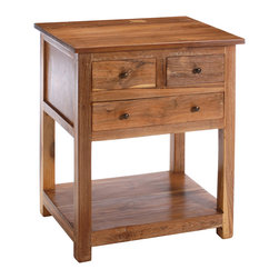 Reclaimed Teak 3-drawer Side Table - Handcrafted quality and elegance make this reclaimed teak three-drawer side table a unique addition to any home.
