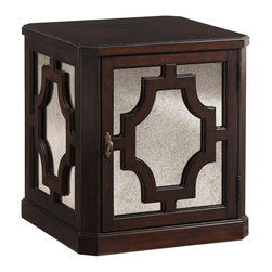 Lexington - Lexington Kengsington Place Benedict Mirrored Lamp Table 708-950 - This sophisticated lamp table features a wooden top with faceted corners, antique mirror overlaid with wood fretwork on all four sides, as well as a door that opens to reveal one shelf for storage.