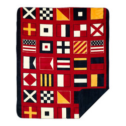 Throw blanket Denali Nautical Flags/Lapis - Denali micro plush throws are considered the Cadillac of throws due to their rich colors and soft feel. These throws are softer and warmer than fleece.