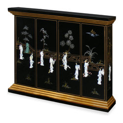 "China Furniture and Arts - Black Lacquer Maidens Motif Wall TV Cabinet - With exquisitely hand painted landscape scenery and mother of pearl maidens dancing about, this TV cabinet is sure to create a striking effect in any space. Golden stepped pagoda crown and base create a stunning frame to house a hanging TV. Double-hinged doors folds to the sides for unobstructed viewing. Mounting wares included. Black lacquer finish. Interior measures 54""W x 33.75""H. Fully assembled."