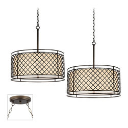 """Franklin Iron Works - Traditional Metal Lattice Bronze Double Multi Light Pendant - Our multi swag chandeliers let you add designer lighting to any room. The special swag canopy installs into any ceiling junction box just like a normal ceiling light or chandelier. Install hooks in the ceiling and swag the chain to the canopy; adjust the hanging length as desired. With the hanging options you can get the exact look and light placement you need. This version features a bronze finish double swag canopy. It's paired with two designer Metal Lattice pendants from Franklin Iron Works with white acrylic diffusers. Multi swag chandelier. With two designer Metal Lattice pendants. Includes bronze finish special canopy adaptor. Installs into any ceiling junction box. Includes swag hooks and mounting hardware. Each pendant includes 12 feet cord 6 feet chain. Takes eight maximum 60 watt bulbs (not included). Canopy is 7"""" wide. Each pendant is 21 1/2"""" high 20"""" wide. Some assembly required; instructions included.  Multi swag chandelier.  With two designer  Metal Lattice pendants.  Includes bronze finish special canopy adaptor.  Installs into any ceiling junction box.  Includes swag hooks and mounting hardware.  Each pendant includes 12 feet cord 6 feet chain.  Create drama with this large chandelier.  Takes eight maximum 60 watt bulbs (not included).  Canopy is 7"""" wide.  Each pendant is 21 1/2"""" high 20"""" wide.  Some assembly required; instructions included."""