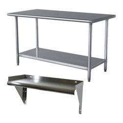 New Buffalo Corp. - Sportsman Series Stainless Steel Table and Shelf Set - The Sportsman Series Stainless Steel Table and Shelf Set are the perfect addition to your kitchen, garage, or basement. Use in the garage for weekend hobbies and honey-do's.