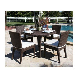 Hospitality Rattan - Grenada Patio 5 PC Dining Set - When warm temperatures arrive, dining outdoors is a natural choice. With a classic round table, you'll have room for four with side chairs that are included in this wicker ensemble. Aluminum structuring provides solid support for daily gatherings. Include: 4 Side Chairs & Round Table. Cushions not included. Made of Aluminum Frame w All Weather Viro Fiber Wicker. Includes tempered frosted glass. Weather and UV resistant. No assembly required. Fully assembled five piece set. Sturdy aluminum legs for extra support. Side chair: 24 in. W x 24 in. L x 37 in. H (9 lbs.). Round Table: 50 in. W x 50 in. L x 30 in. H (100 lbs.)The Grenada contemporary patio set has a fully anodized aluminum frame and woven Viro fiber, which gives this collection a unique textured surface. The Grenada collection does not require cushions. The collection also features frosted tempered glass on all its tables, along with the ability to accommodate an umbrella with the patio dining set.