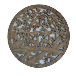 Golden Lotus - Chinese Vintage Round Deer Pine Tree Wall Plaque - This is an old round wood plaque with nice hand crafted see through carving. Deer and pine trees symbolizes longevity in the Chinese culture.