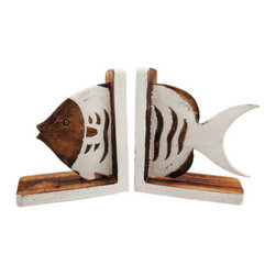 Distressed Finish Brown and White Wooden Fish Bookends - Made of wood, this stunning pair of fish bookends has a white enamel finish over brown stained wood, and is artificially distressed to give it an aged look. Measuring 7 3/4 inches tall, 7 inches deep, and 2 1/2 inches wide, they add class and style to any room with a marine life theme. This pair also makes a great present for the holidays or for housewarming gifts.