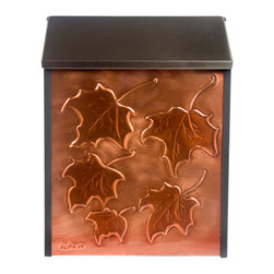 Maple Leaves Locking Wall-Mount Copper Mailbox - Add beauty and function to your home with this locking wall mount mailbox. The front copper panel features hand-embossed maple leaves, and the stainless steel lid opens to reveal the mail slot and lock.