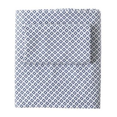 Serena & Lily - Cut Circle Sheet Set  Navy - Taken by the look of Indian cutwork and the charm of liberty prints, Serena took a cut circle graphic to form a tight pattern in small scale. We absolutely love this with larger scaled prints the play of big and small creates such interesting visual texture. But we can 't deny how equally great this looks with solid coordinates, which let the striking pattern take center stage. Printed in navy against a crisp white background.