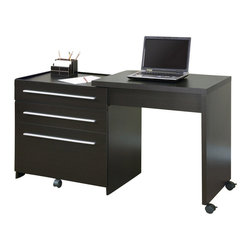 Monarch Specialties - Monarch Specialties Slide-Out Desk with Storage Drawers - This sleek contemporary workstation offers a compact work space that is ideal for apartments, condos, or small homes. With clean lines in a bold dark finish, this desk will blend easily with your home decor. The top surface extends to the side, with casters at the base for easy mobility, creating a knee hole space for comfortable seating at this desk. A storage space is revealed to keep your desk supplies organized, with a medium storage drawer and convenient lateral file drawer below. Add this desk to your home for a functional workstation, where ample storage options, excellent functional features, and sophisticated style come together. What's included: Computer Desk (1).