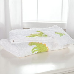 Traditions Linens Dino Roar 3 Piece Kids Towel Set - What kid doesn't like dinosaurs? The Traditions Linens Dino Roar 3 Piece Kids Towel Set is sure to amuse your child and make bath-time a more pleasant experience. Both the friendly dino and white towel are made from 100% Egyptian cotton, velvety enough to pamper even the most sensitive skin. These towels aren't just lovely to look at and delightful to hold they're super-absorbent and durable as well, meaning they'll handle your soppiest counters time and time again. You might expect these to require special care, but all they need is a machine washing on a gentle cycle, followed by a tumble-dry. Whether kept in reserve in the linen closet or on display in your kids' bath, the Dino Roar towel set will quickly become a family favorite. The bath towel measures 27 x 54 inches; hand towel measures 19 x 34 inches; wash cloth measures 12 x 12 inches.About Traditions LinensBased in Claverack, N.Y., Traditions Linens is a family business that has been a leader in the world of home textiles, bed linen design, and manufacturing for more than 35 years. Drawing inspiration from her background in antiques, the beauty of the Hudson Valley, and her frequent travels, Pamela Kline creates fine bedding collections that layer texture, color, and pattern in all-natural fibers and with meticulous attention to detail. The company's product line includes blankets, sheet sets, quilts, towels, window treatments, duvet covers, decorative pillows, and more. Their products can be found in specialty boutiques, home furnishing stores, catalogs, and online retailers in the United States, Canada, Europe, South America, and Asia.