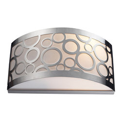 """Elk Lighting - Retrovia 2-Light Sconce in Polished Nickel - During the 1950s, there was a renewed sense of style and design from consumer products to fashion and beyond. This design movement coined the term """"mid-century modern"""" which became a leading design movement. Finished in polished nickel, this collection embodies the excitement of the time period with laser cut circles, opal etched cylindrical glass, and a white diffuser that accents the drum and vanity fixtures."""
