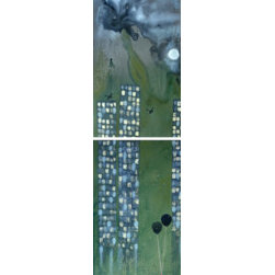 Plus Or Minus (Original) by Dyd Art - You can look at this as a positive or negative piece.  The confetti floating down from the tall buildings are old punch card numbers.  The girl stands alone in this celebration or dark world.